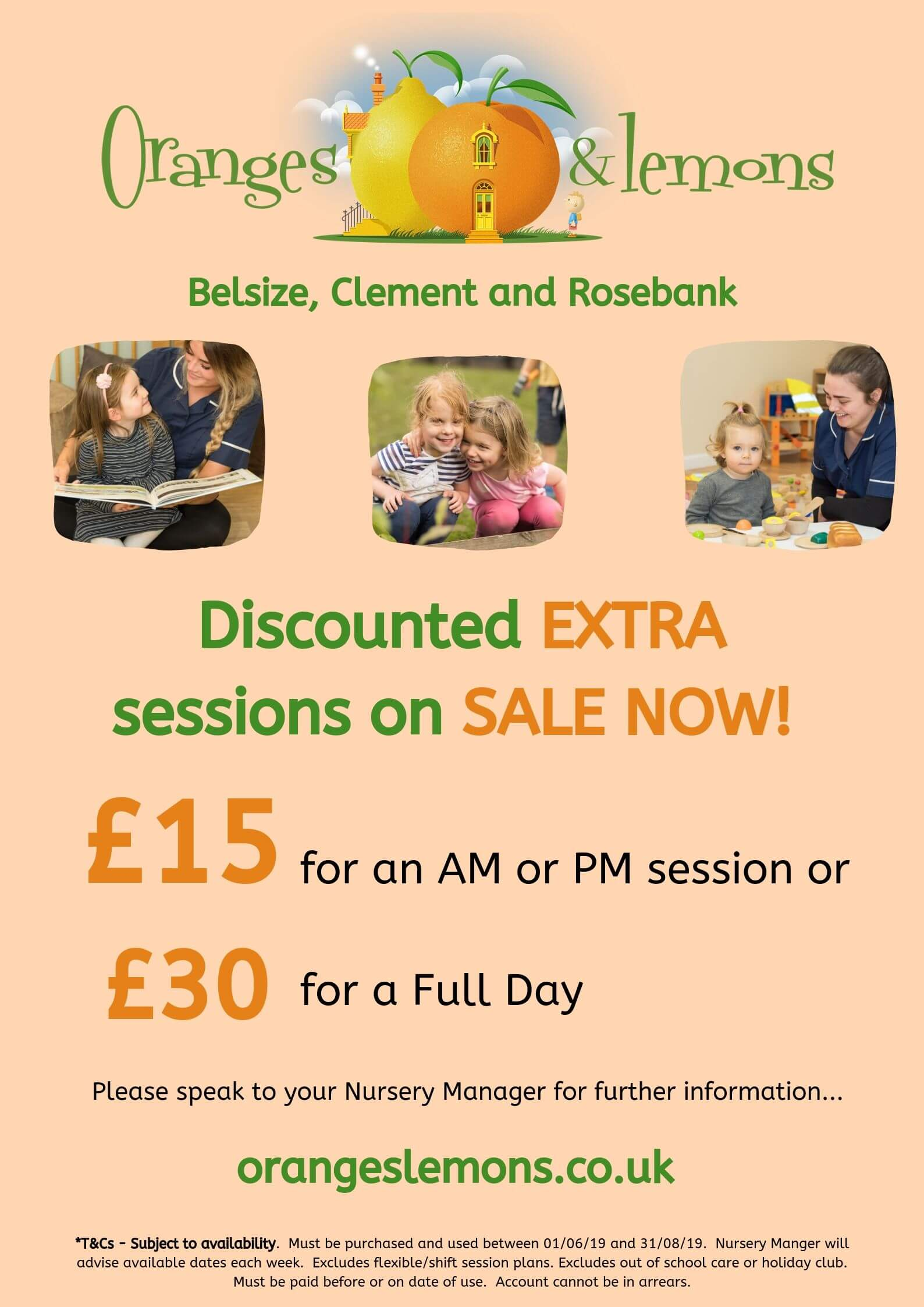 oranges and lemons discounted sessions